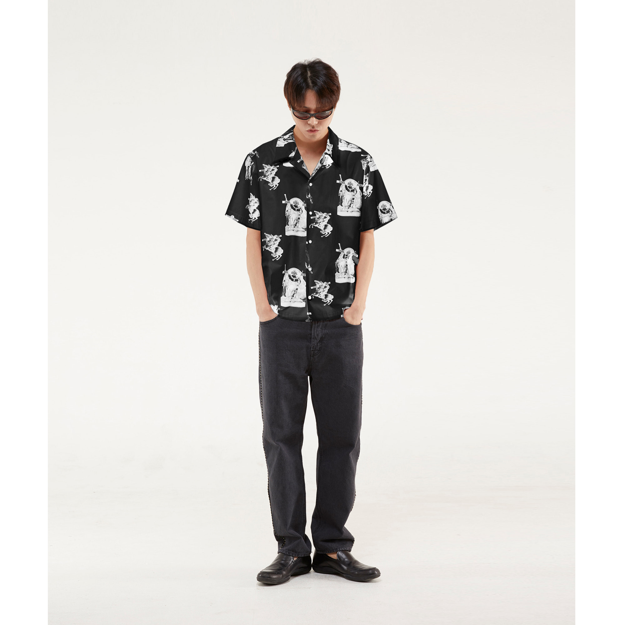 royal hawaiian shirt / black