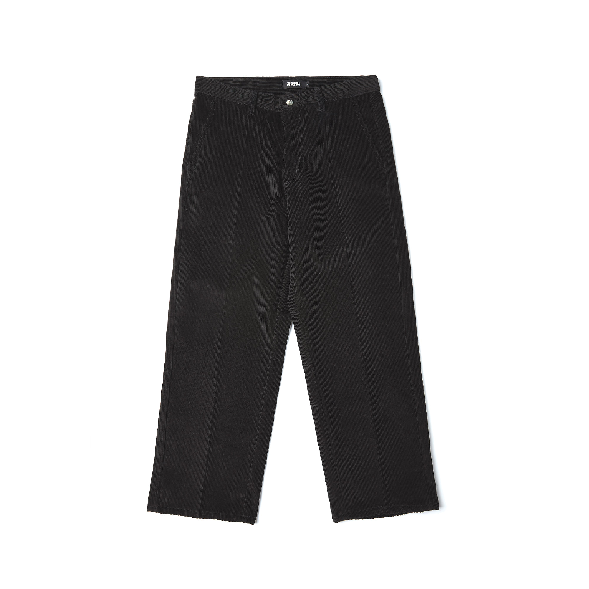 corduroy wide pants / black