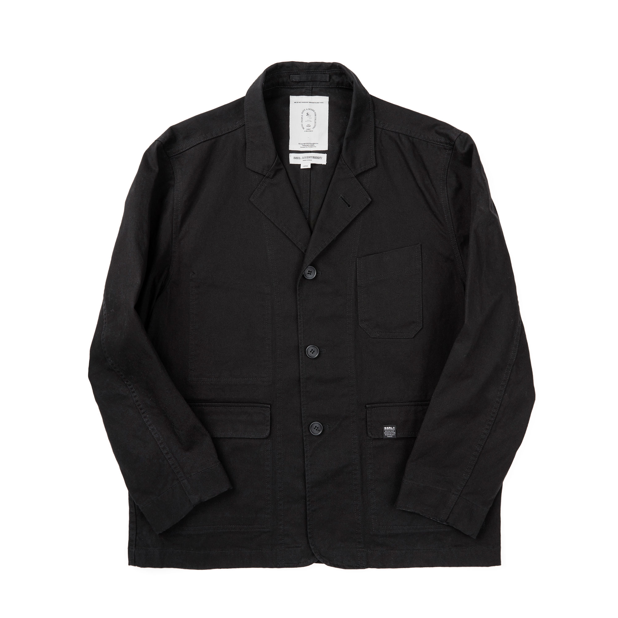washed twill 3 buttons blazer jacket / black