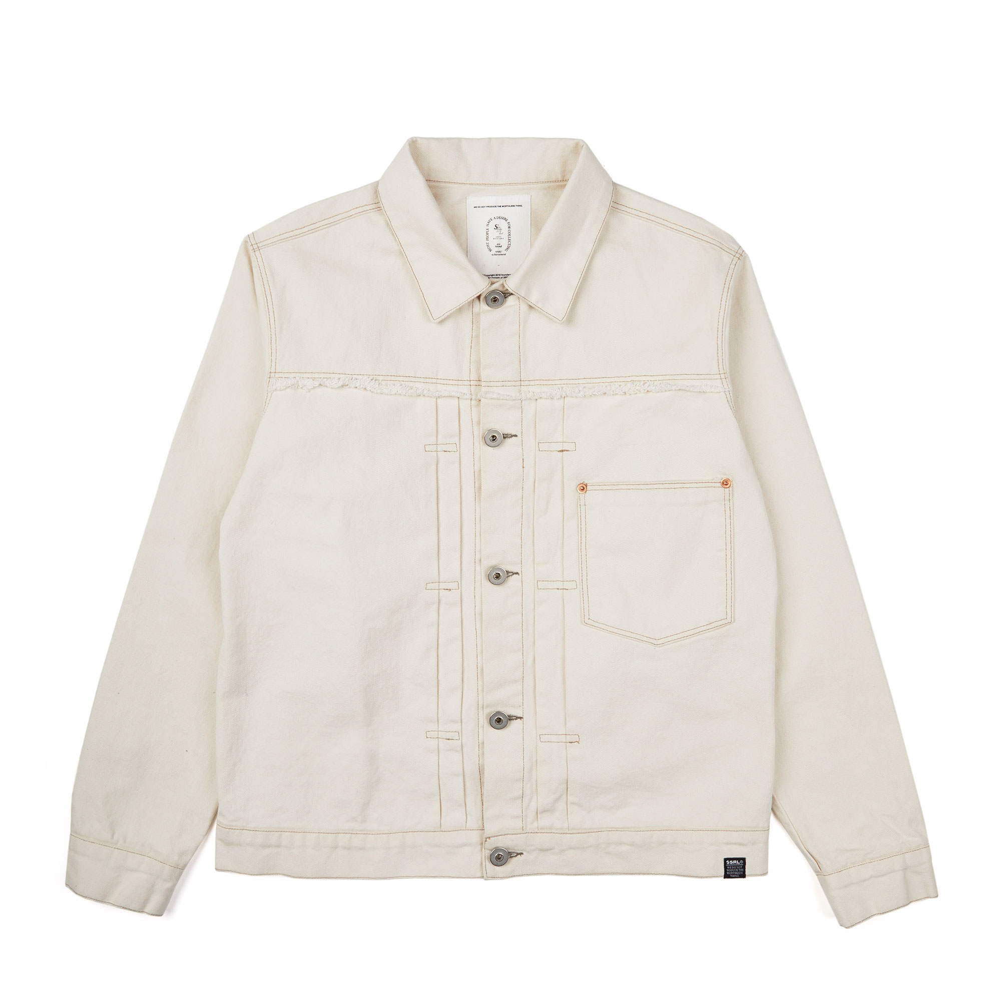 damaged twill trucker jacket / ivory
