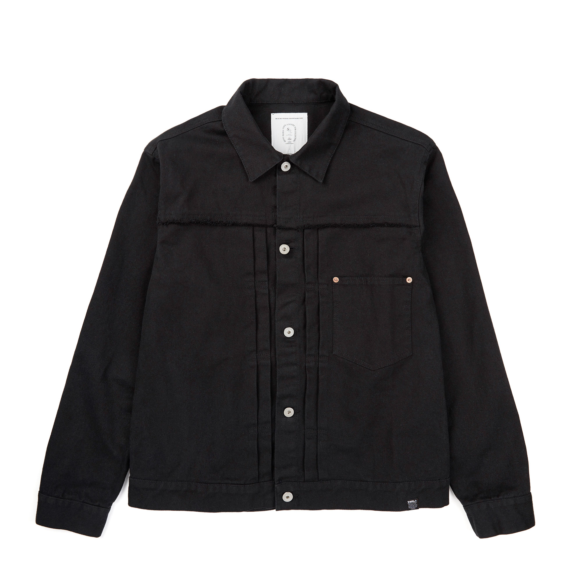 damaged twill trucker jacket / black