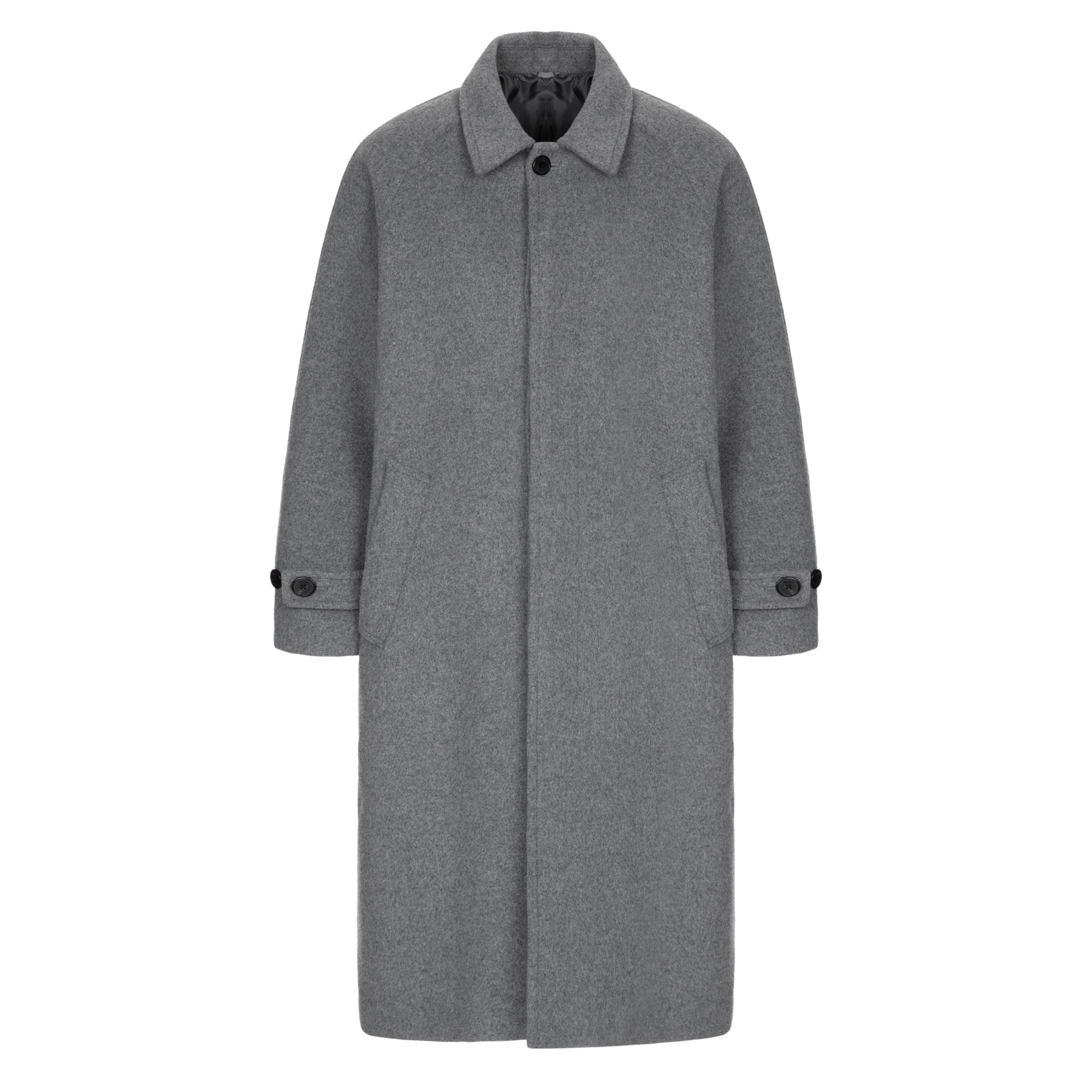 wool balmacaan coat / melange gray