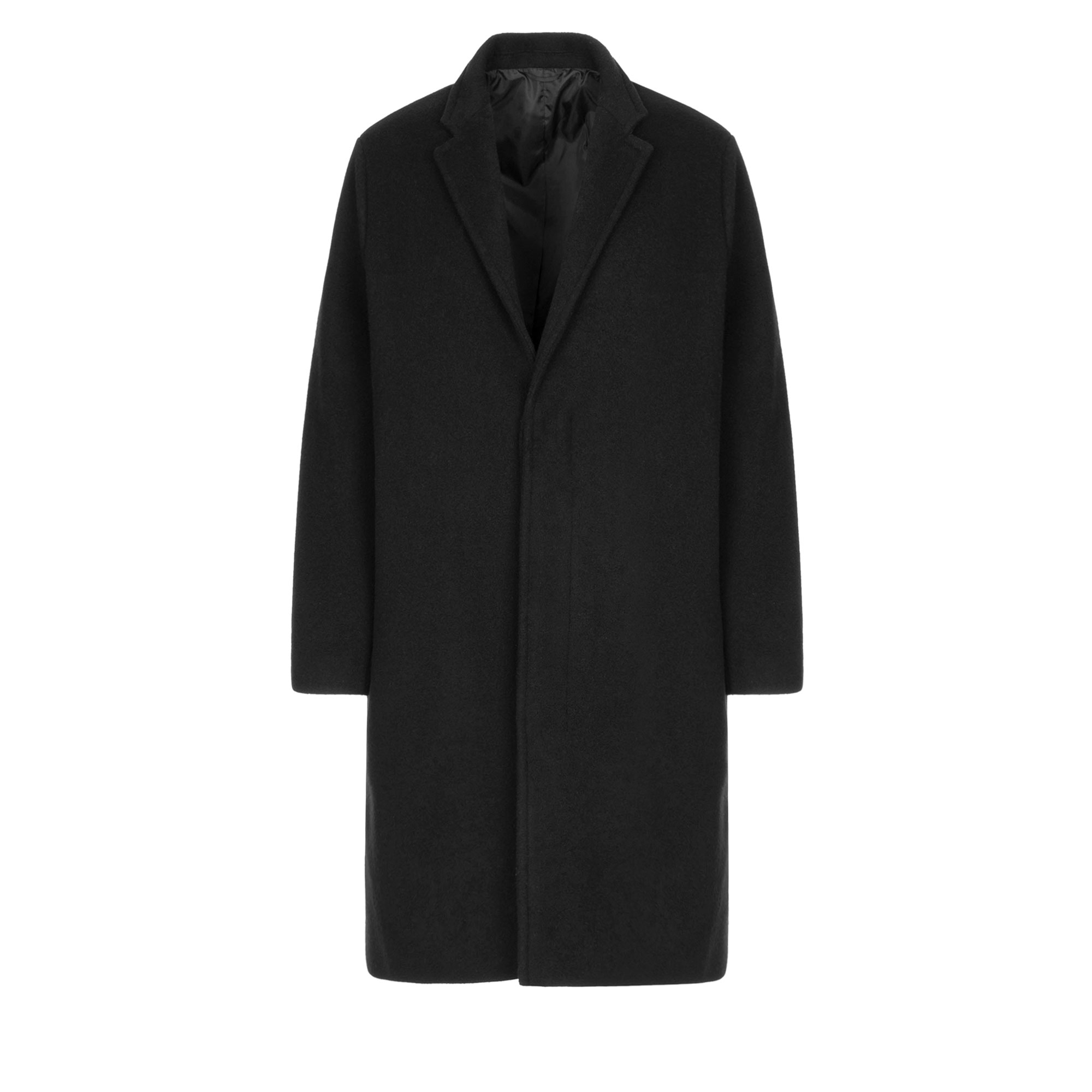 hidden button wool single coat / black
