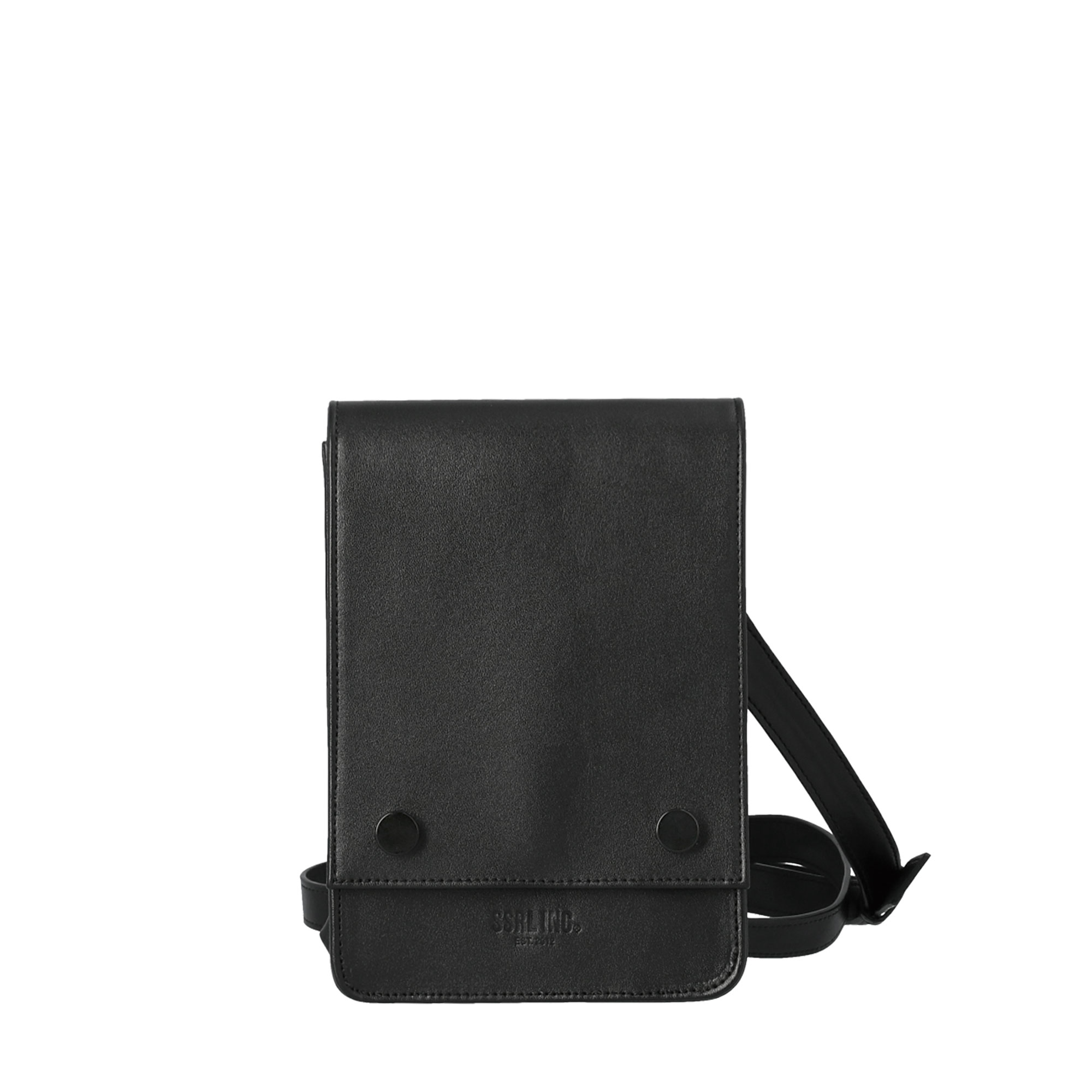unisex leather mini bag / black