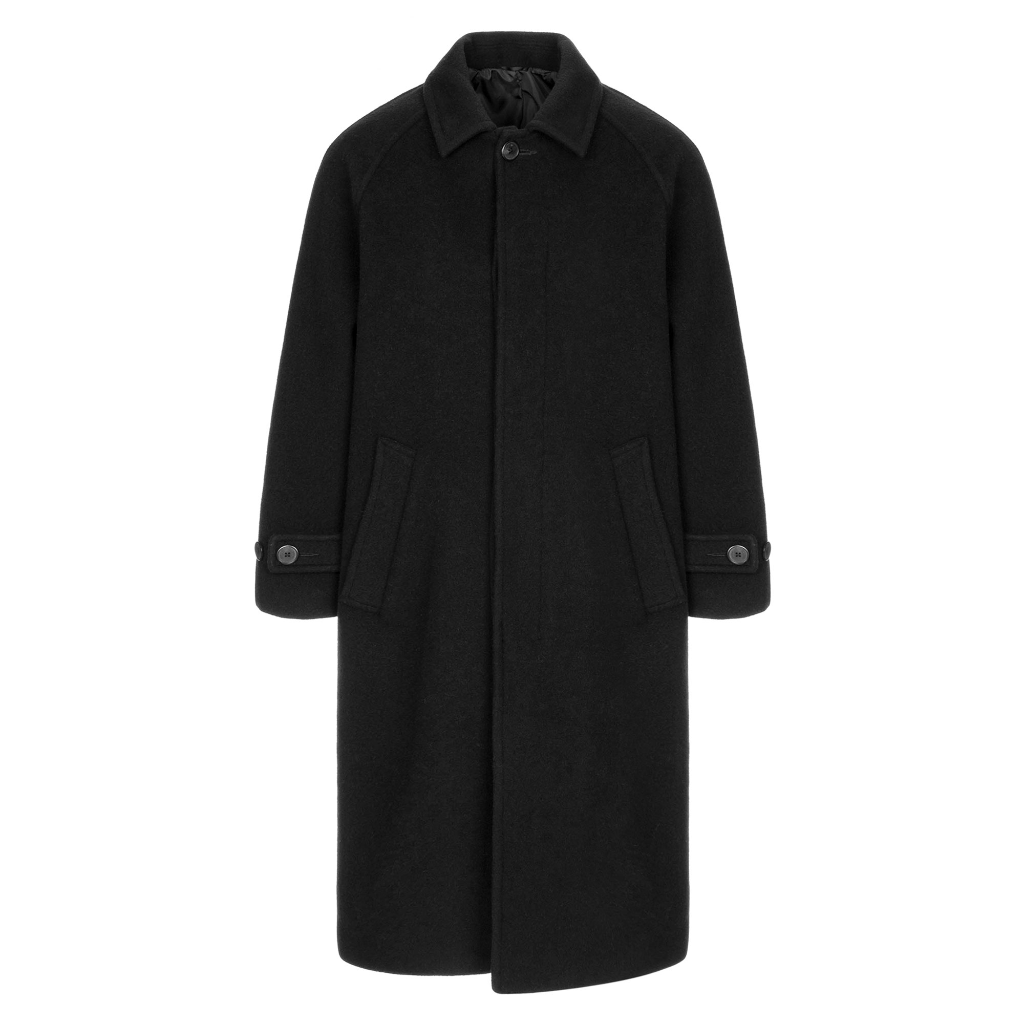 wool balmacaan coat / black