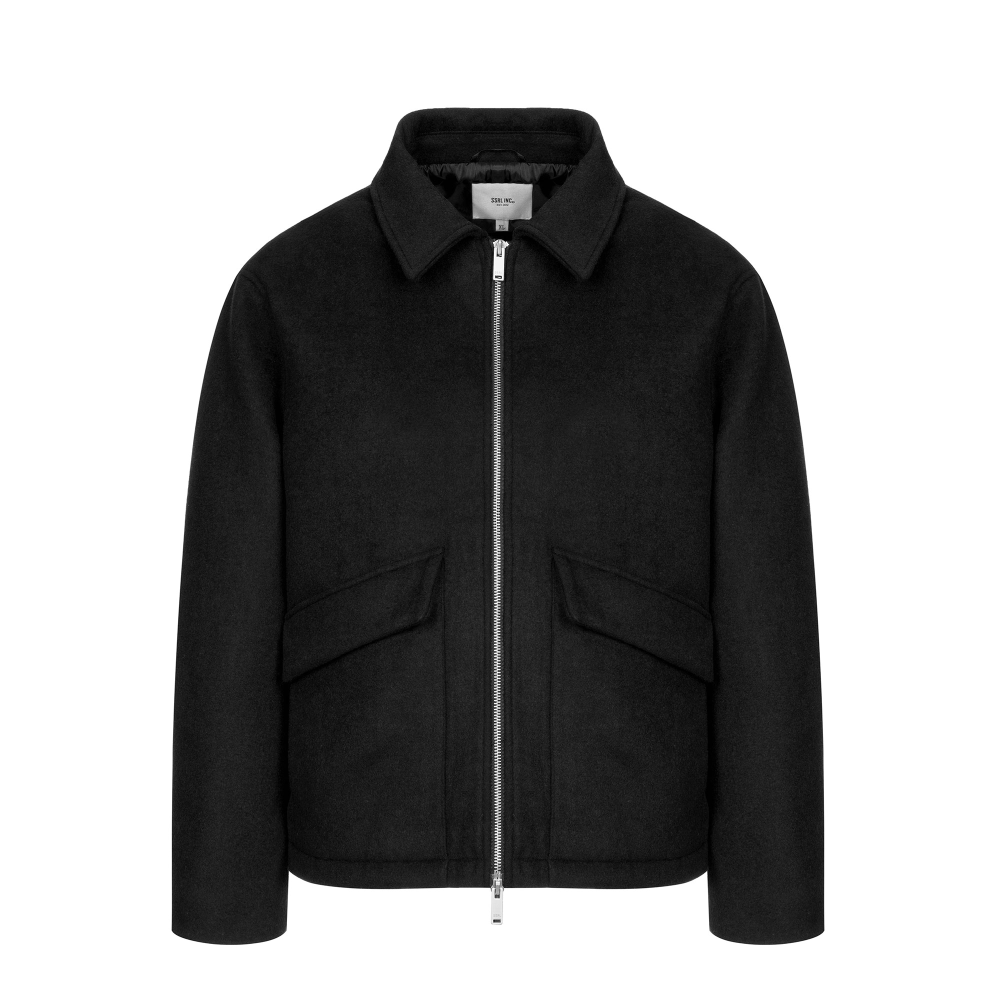 minimal wool zip-up jacket / black